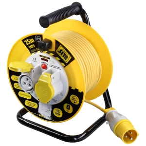 Masterplug 25m 110V 2 Socket Cable Reel with Thermal Cut Out 16A