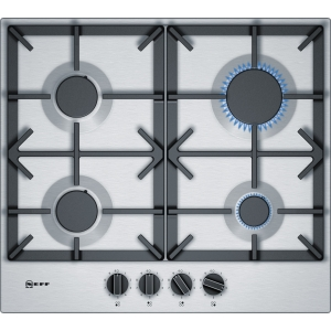 NEFF N70 60cm Gas Hob with Flameselect and Cast Iron Pan Supports Stainless Steel T26DS49N0
