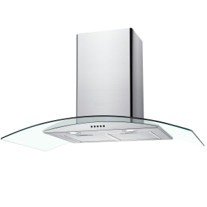 Unbranded 90cm Curved Glass Chimney Hood Stainless Steel - NGM90NX