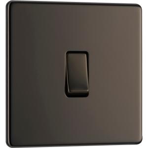 Bg Screwless Flat Plate Black Nickel 10AX Light Switch 1 Gang Intermediate