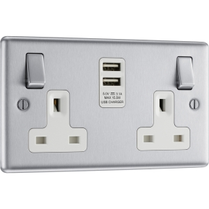 Bg Brushed Steel USB 13A White Insert Switched Socket 2 Gang + 2 USB 3.1A