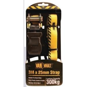 Van Vault 3m x 25mm Ratchet Tie Down Strap Black Plastic Coated S Hooks