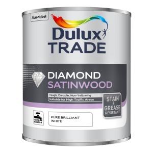 Dulux Trade Diamond Satinwood Paint - Pure Brilliant White 2.5L