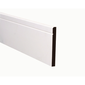MDF Skirting Truprofile Square Profile/Bevelled with V Groove Painted 18 x 119mm x 4.4m