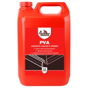 "4Trade Pva Building Adhesive, Sealer And Primer 2.5l"""
