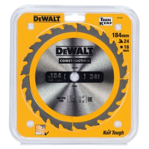 DeWalt Construction Circular Saw Blade, 184mm Diameter with A 16mm Bore and 18 Tct Teeth.