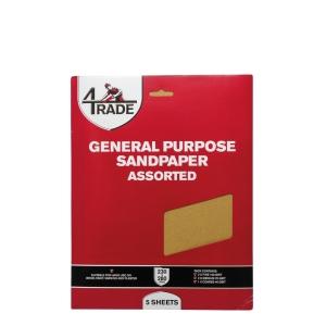 4Trade General Purpose Sandpaper Fine Packs of 5