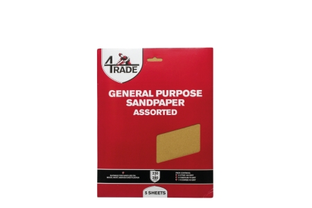 4Trade General Purpose Sandpaper Fine Packs of 5