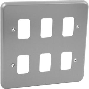 MK Grid Plus Metal Front Plate 6 Gang