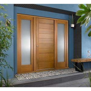 Oslo External Oak Veneer Door 1981 x 838mm + Oak Frame & Side Lights 2 x 24in 610mm L & R