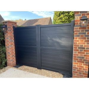 Dartmoor Double Swing Flat Top Driveway Gate with Horizontal Solid Infill 3000 x 1800mm Black
