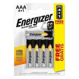 Energizer Alkaline Power AAA BP 5 Batteries 4 Pack +1