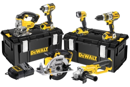 DeWalt 18V Brushless 6PC Kit 3 Spd C/W3 x 5.0AH Batts Charger & Tough System DCK694P3-GB