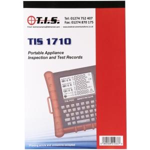 Tis TIS 1710 Test Certificate Book Portable Appliance Test
