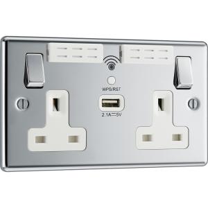 Bg Polished Chrome 13A Wifi Extender & USB Socket 2 Gang + 1 USB 2.1A