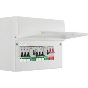 Bg Metal Consumer Unit Dual RCD + 6 MCBs 6 Way