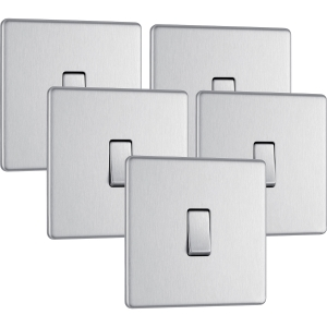 Bg Screwless Flat Plate Brushed Stainless Steel 10AX Light Switch 1 Gang 2 Way Trade Pack