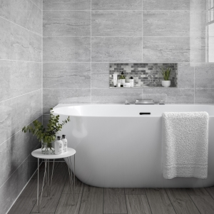 Polina Light Grey Ceramic Wall Tile 250 x 500 Pack of 12