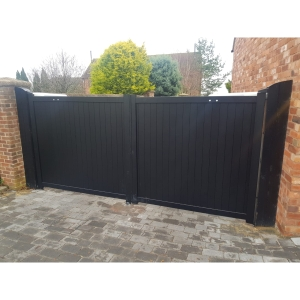 Canterbury Double Swing Flat Top Driveway Gate with Vertical Solid Infill 3000 x 2200mm Black