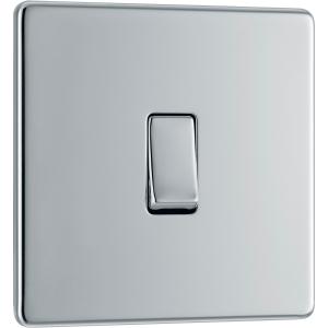 Bg Screwless Flat Plate Polished Chrome 10AX Light Switch 1 Gang Intermediate