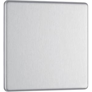 Bg Screwless Flat Plate Brushed Stainless Steel Blank Plate 1 Gang