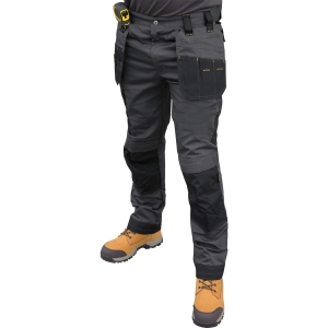 DeWalt Aspen Ripstop Stretch Holster Pocket Trousers Grey & Black Long