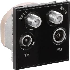 Toolstation Euro Module TV/SAT Outlet Dual SAT/TV/FM Black