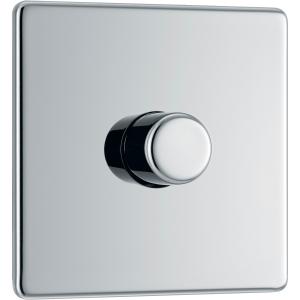 Bg Screwless Flat Plate Polished Chrome Dimmer Switch 1 Gang 2 Way
