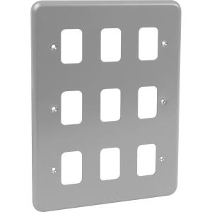 MK Grid Plus Metal Front Plate 9 Gang