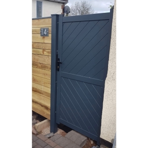 """Cambridge Pedestrian Flat Top Pedestrian Gate with Diagonal Solid INFILL, LOCK, Lock Keep and Hinges 1000 x 1600mm Grey"""""""