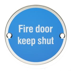4FIREDOORS FS302 Fire Door Keep Shut Sign Polished Stainless Steel 76mm