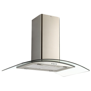 Unbranded 90cm Curved Glass Island Hood Stainless Steel - NGI96NX