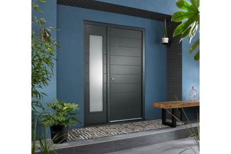 Oslo External Grey Hardwood Veneer Door 1981 x 838mm + Grey Frame & Side Light 1 x 18in 457mm Reversible