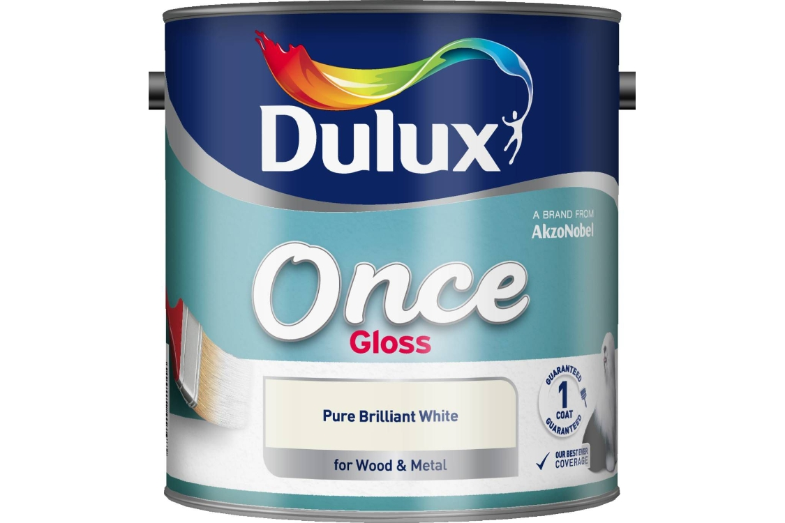 Dulux Once Gloss Paint Pure Brilliant White 2.5L