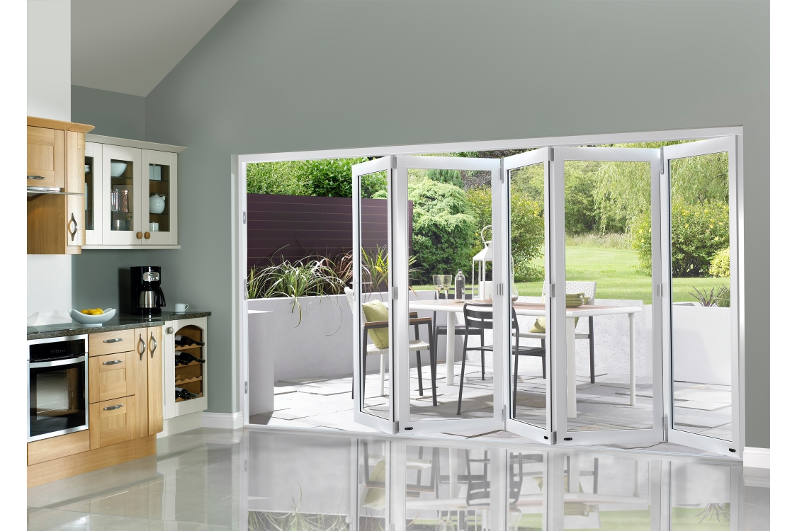 Slimline External Pre-finished White Bifold Door Set 3590mm wide