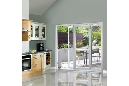 External Slimline Pre-finished White Bifold Door Set 2690mm wide