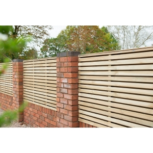 Pressure Treated Contemporary Double Slatted Fence Panel 1.8m x 0.91m - Pack of 3