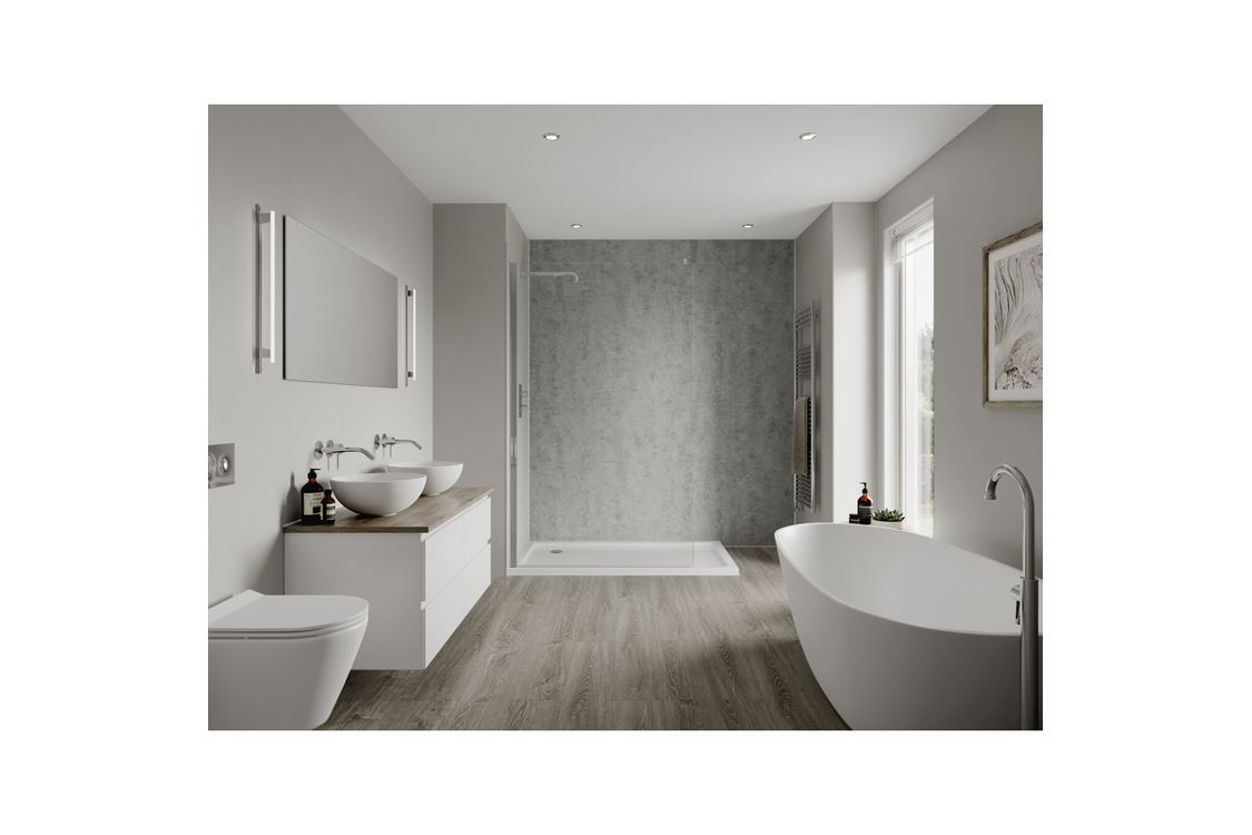 Multipanel Linda Barker Bathroom Wall Panel Hydrolock 2400 x 598mm Concrete Elements 8830