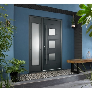 Malmo Ultimate External Grey Front Door with Outer Frame and Single Sidelight 1583mm W x 2079mm H