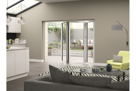 External Aluminium White Left Opening Bifold Door Set 2090mm wide