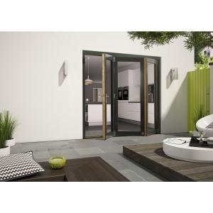 External Aluminium Clad Grey/Pre-Finished Oak Bifold Door Set