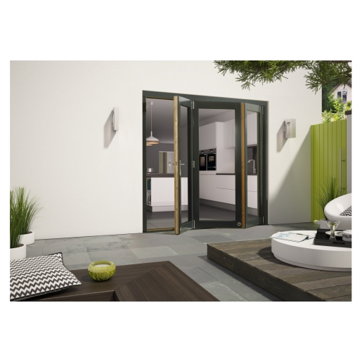 External Aluminium Clad Grey/Pre-Finished Oak Bifold Door Set 1790mm wide