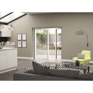 Aluminium External White French Door 1790mm wide Open Out