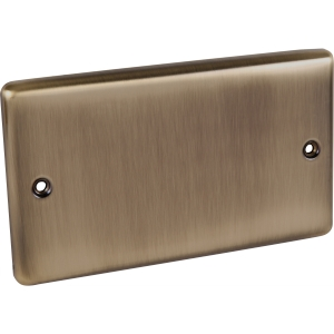 United Electrical Products Ltd Antique Brass Blank Plate 2 Gang