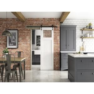 Glazed Primed Cottage Clear Glazed Industrial Sliding Barn Door 862mm
