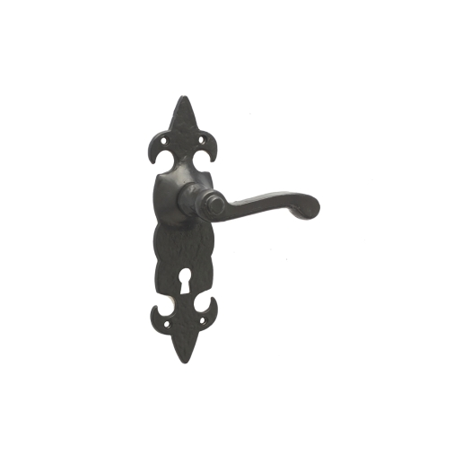 Frelan Hardware Jedo JAB83 Fleur De Lys Lever Lock Handle Set Black Antique