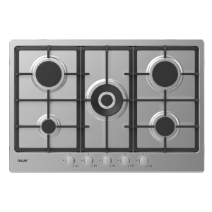 neue 75cm Gas Hob with Cast Iron Pan Supports & Front Rotary Control Stainless Steel NHG74WX