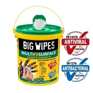 Big Wipes Antiviral XL Bio Super Towels Pro+ Bucket 150 Towels