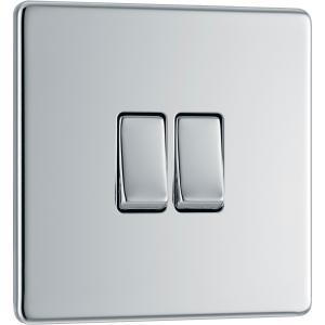 Bg Screwless Flat Plate Polished Chrome 10AX Light Switch 2 Gang 2 Way