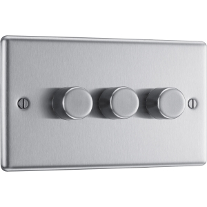 Bg Brushed Steel Dimmer Switch 3 Gang 400W